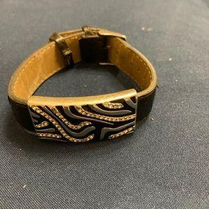 6/$20 GUC Leather animal print Lia Sophia bracelet